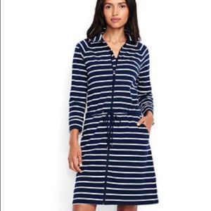 Lands' End Beach Cover Up Dress Blue Striped Large